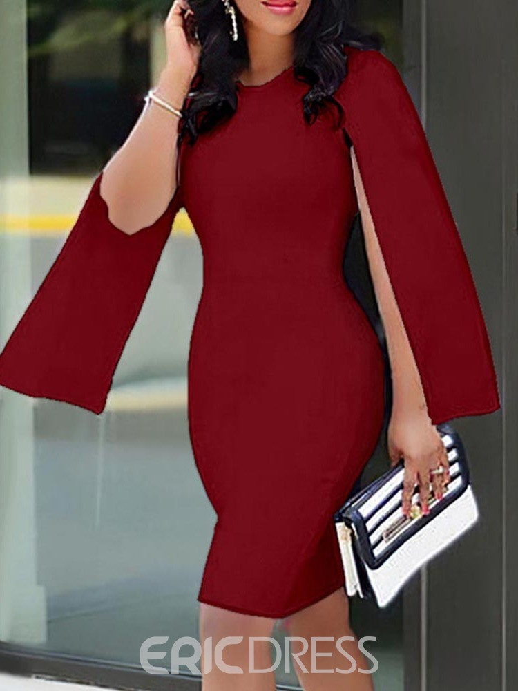 Ericdress Long Sleeve Round Neck Above Knee Fall Fashion Dress