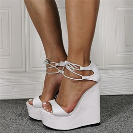 Ericdress Open Toe Lace-Up Wedge Heel Sexy Sandals