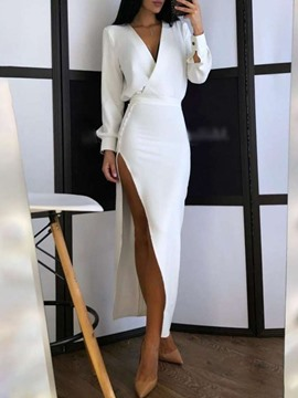Ericdress Split V-Neck Long Sleeve Spring Sexy Dress