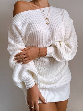 Ericdress Long Sleeve Round Neck Above Knee Casual Pullover Dress
