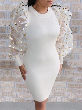 Ericdress Sequins Round Neck Long Sleeve Bodycon Date Night/Going Out Dress