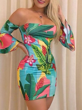 Ericdress Print Long Sleeve Above Knee Flare Sleeve Bodycon Dress