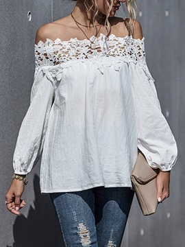 Ericdress Plain Off Shoulder Lace Mid-Length Long Sleeve Blouse