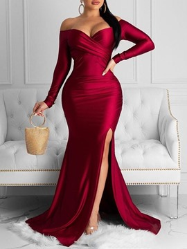 Ericdress V-Neck Long Sleeve Split Plain Winter Dress