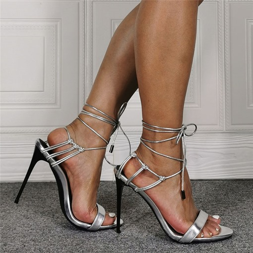 Ericdress Lace-Up Stiletto Heel Pointed Toe Lace-Up Sandals