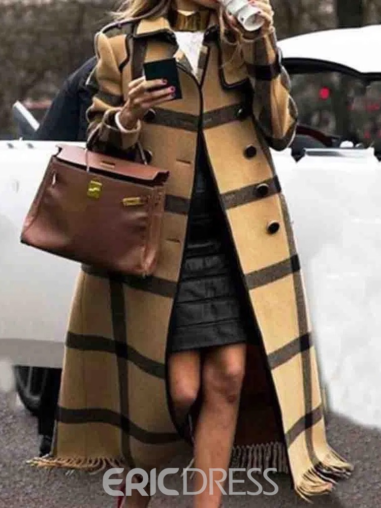 Ericdress Button Double-Breasted Straight Lapel Long Overcoat