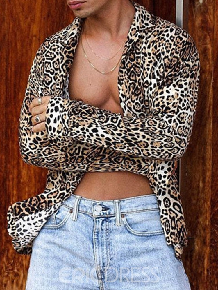 Ericdress Lapel Leopard European Loose Single-Breasted Shirt