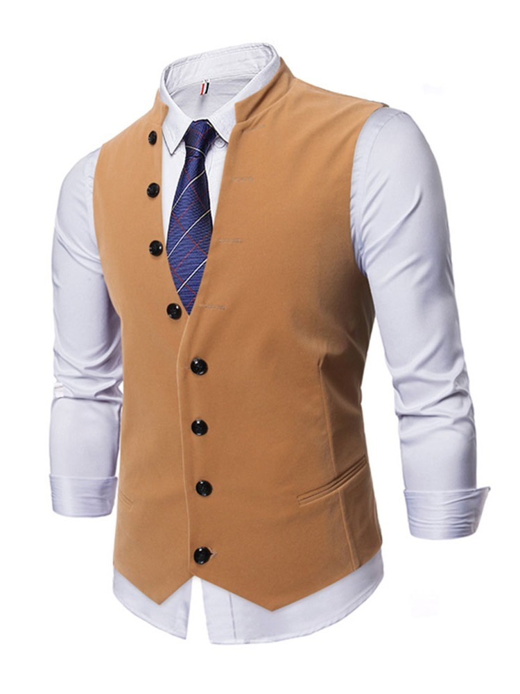 Ericdress Stand Collar Plain Button Fall OL Waistcoat