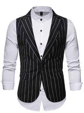 Ericdress Notched Lapel Stripe OL One Button Waistcoat