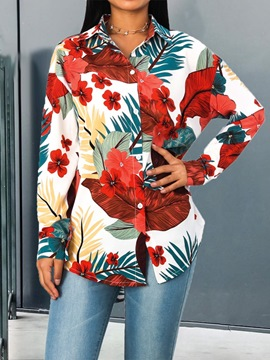 Ericdress Floral Lapel Print Long Sleeve Mid-Length Blouse