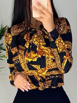 Ericdress Lapel Regular Print Long Sleeve Standard Blouse
