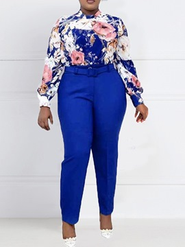 Ericdress Print Office Lady Floral Pencil Pants Lapel Two Piece Sets