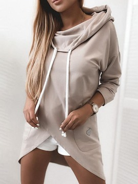 Ericdress Plain Lace-Up Regular Hooded Mid-Length Hoodie