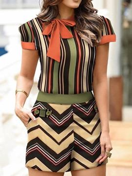 Ericdress Casual Shorts Stripe Straight Pullover Two Piece Sets