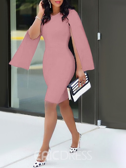 Ericdress OL Round Neck Long Sleeve Above Knee Standard-Waist Bodycon Dress