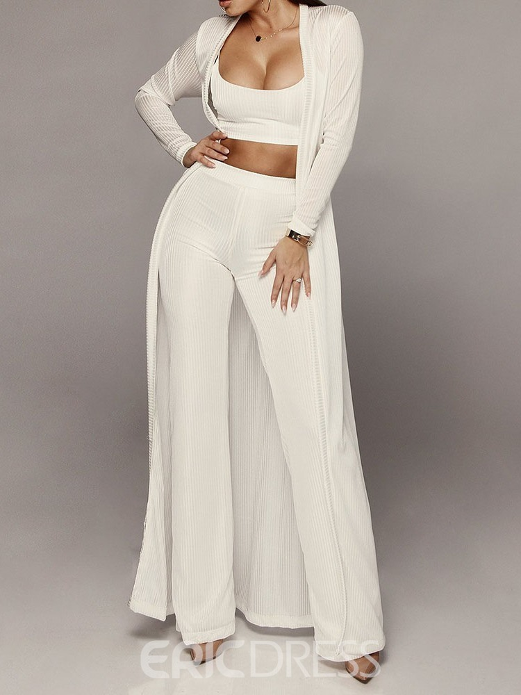 Ericdress Coat Simple Plain Straight Two Piece Sets