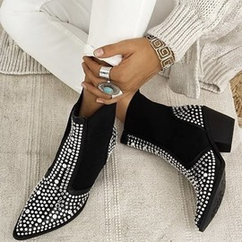 Ericdress Pointed Toe Plain Block Heel Western Boots