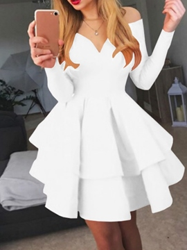 Ericdress V-Neck Long Sleeve Above Knee Plain Sweet Dress