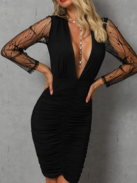 Ericdress V-Neck See-Through Above Knee Pullover Bodycon Dress
