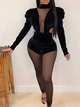 Ericdress Sexy Full Length See-Through Pencil Pants Skinny Jumpsuit