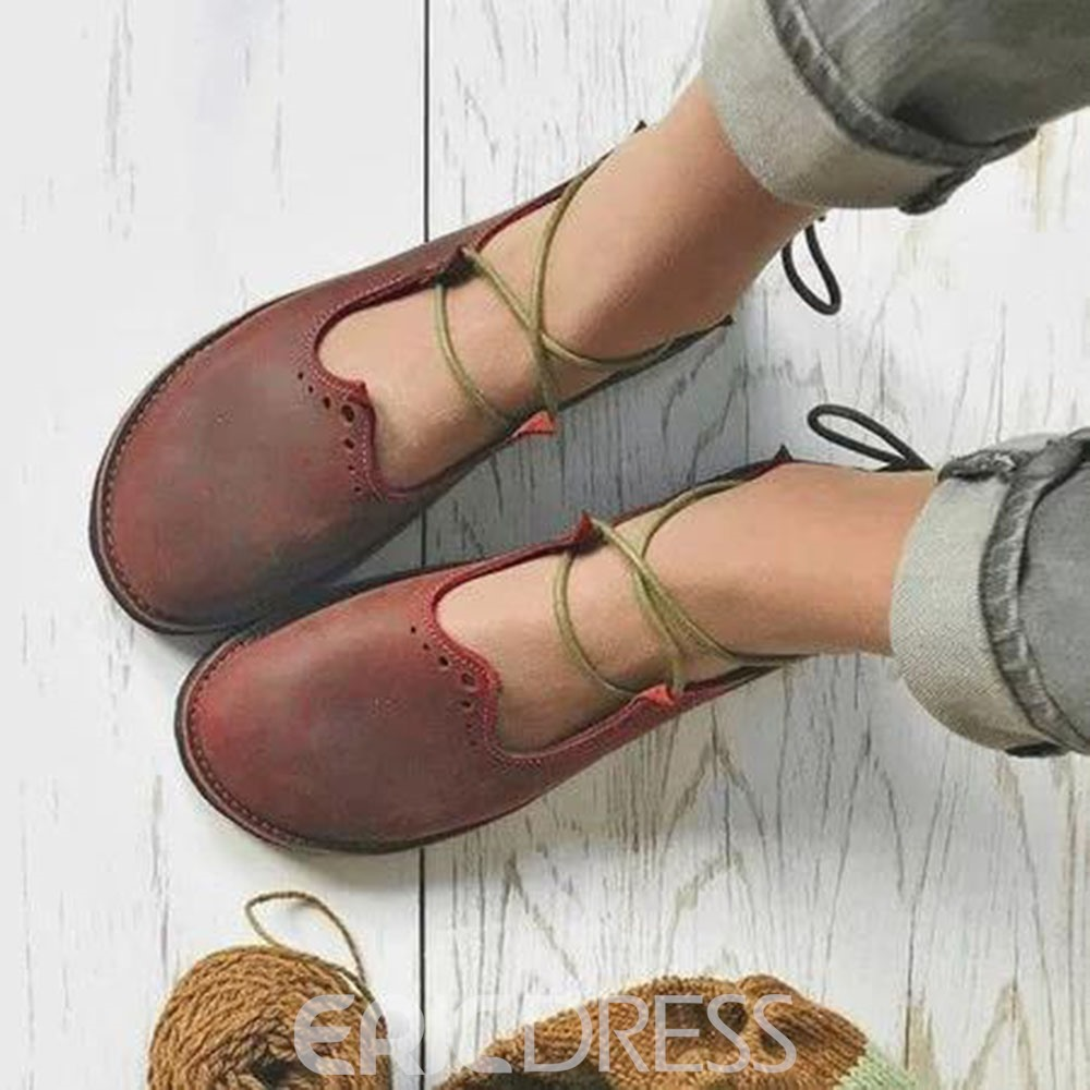 Ericdress Round Toe Flat With Cross Strap Casual Thin Shoes