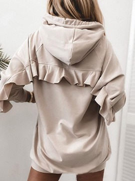 Ericdress Plain Falbala Mid-Length Hooded Hoodie