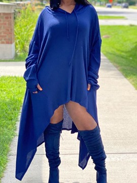 Ericdress Hooded Long Sleeve Asymmetric Asymmetrical Fall Dress