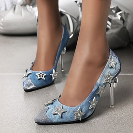 Ericdress Rhinestone Pointed Toe Slip-On Color Block Thin Shoes