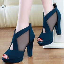 Ericdress Zipper Chunky Heel Peep Toe High Heel (5-8cm) Thin Shoes