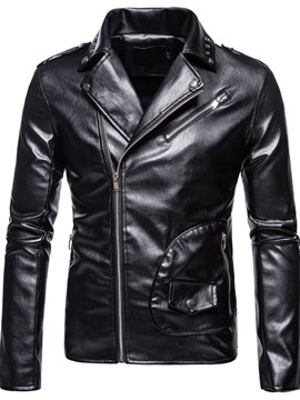 Ericdress Plain Lapel Standard Winter European Leather Jacket