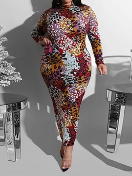 Ericdress Stand Collar Ankle-Length Print Pencil Casual Dress