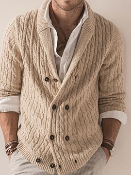 Ericdress Standard Plain Lapel Double-Breasted Casual Sweater