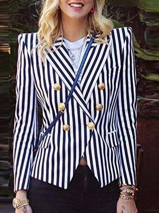 Ericdress Stripe Long Sleeve Double-Breasted Standard Regular Casual Blazer
