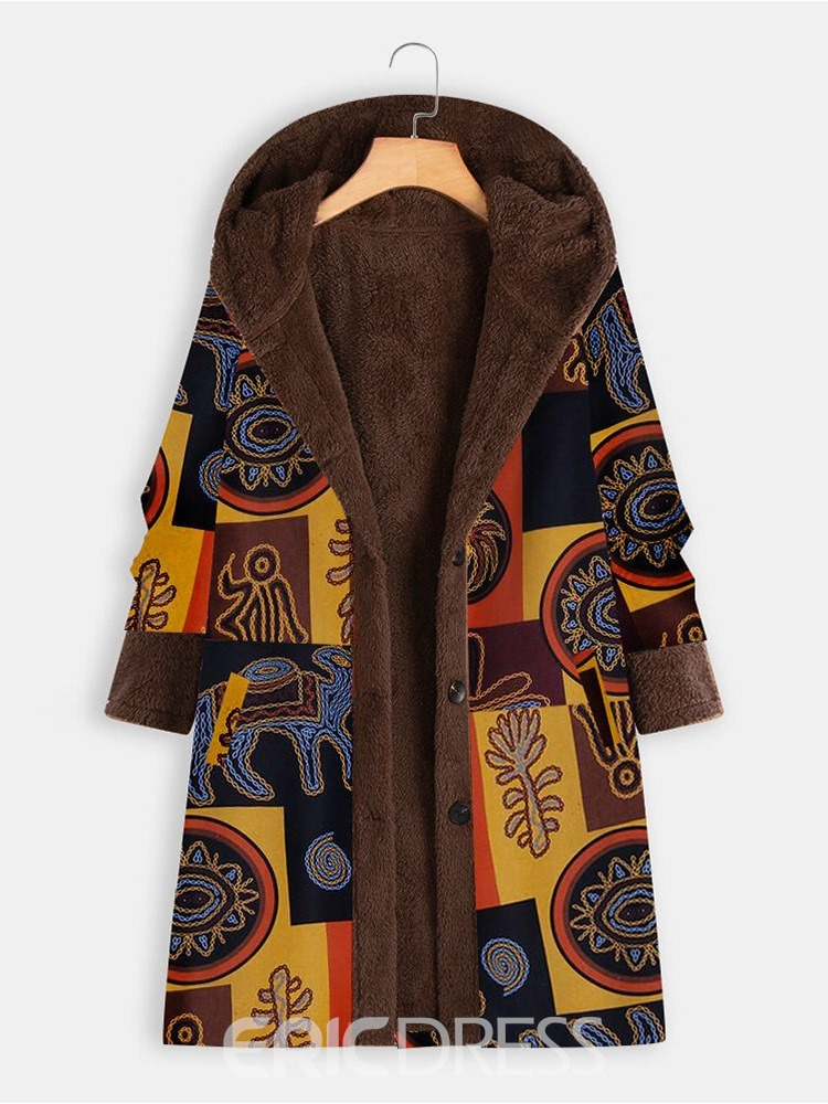 Ericdress Loose Button Single-Breasted Long Hooded Overcoat