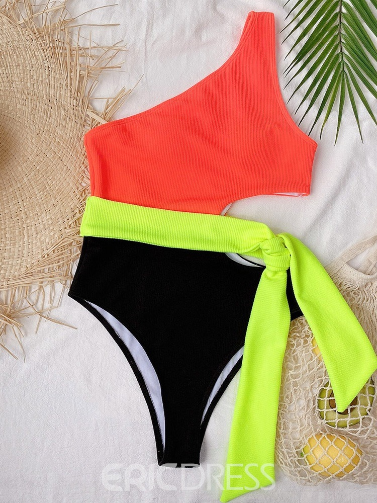 Ericdress One Piece Color Block Slim Swimwear