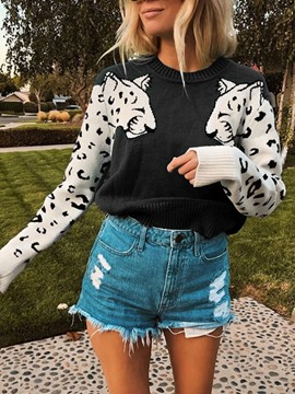 Ericdress Thin Print Regular Slim Long Sleeve Sweater