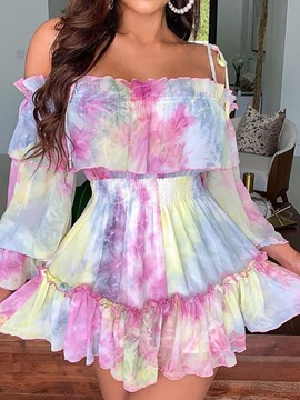 Ericdress Long Sleeve Print Above Knee Summer Cold Shoulder Dress
