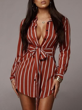 Ericdress Lapel Button Stripe Long Sleeve Mid-Length Blouse