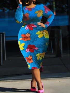 Ericdress Plus Size Round Neck Print Mid-Calf High Waist Floral Dress