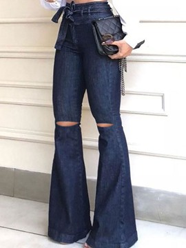 jean slim lavable ericdress uni bellbottoms