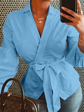 Ericdress Lantern Sleeve Lapel Plain Long Sleeve Standard Blouse