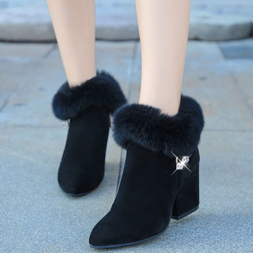 Ericdress Side Zipper Chunky Heel Pointed Toe Korean Boots