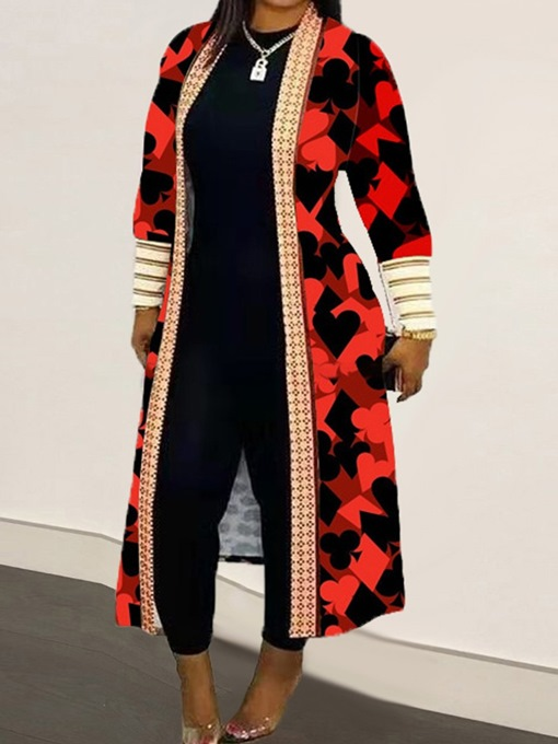 Ericdress Print Long Lace-Up Western Long Sleeve Trench Coat