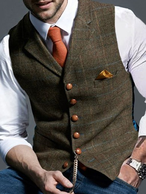 Ericdress Notched Lapel Plaid Spring Single-Breasted Waistcoat