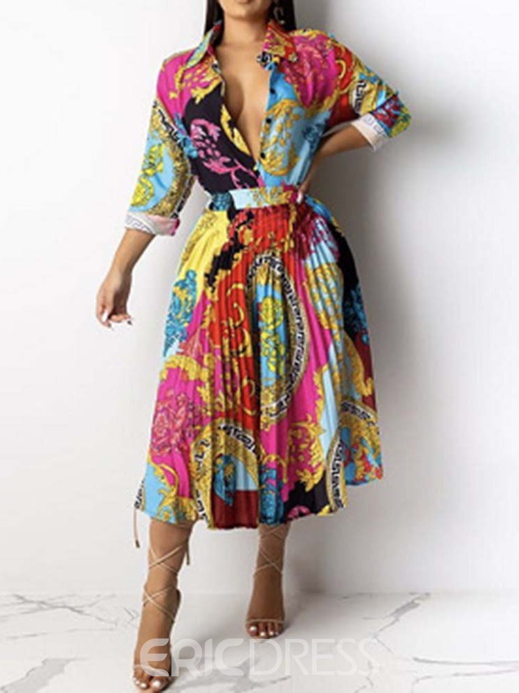 Ericdress Print Mid-Calf Long Sleeve Spring Pleated Dress