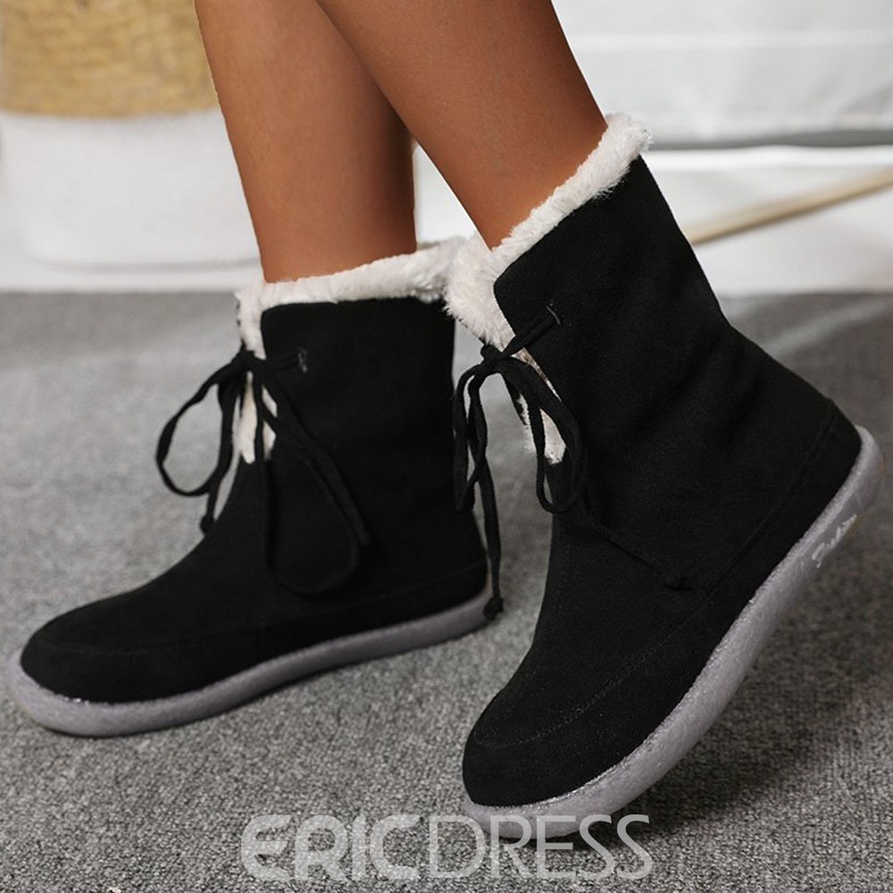 Ericdress Lace-Up Front Plain Flat With Lace-Up Boots