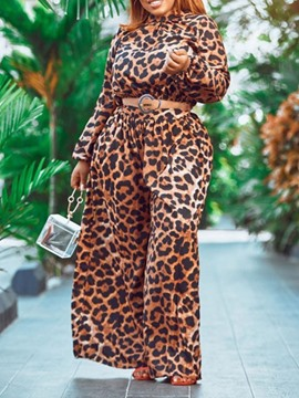 Ericdress Print Leopard Full Length Loose Wide Legs Jumpsuit