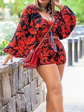 Ericdress Floral Print Fashion Straight Two Piece Sets