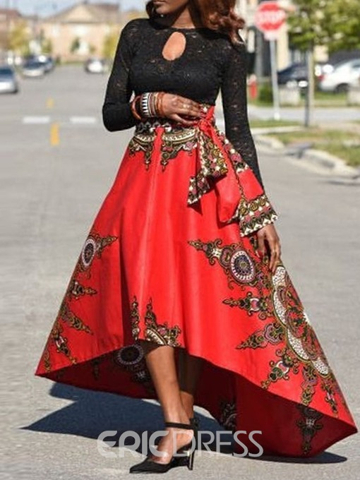 Ericdress Asymmetrical Ankle-Length Floral Fashion Skirt