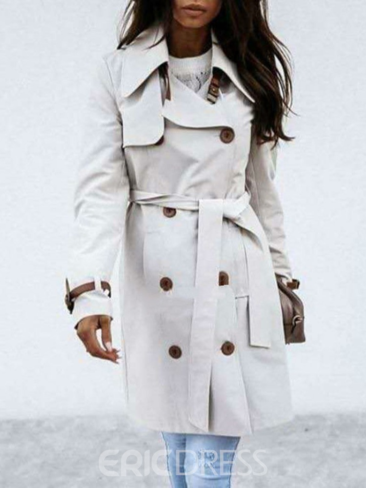 Ericdress Mid-Length Lapel Double-Breasted Western Slim Trench Coat